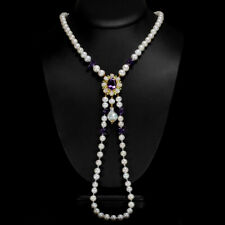 NATUARL AAA WHITE PEARL AMETHYST OPAL EMERALD STERLING 925 SILVER NECKLACE 19