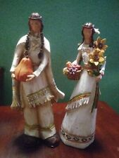 """2 Hobby Lobby 2010 Thanksgiving Native American Couple Figurines 12"""" tall"""