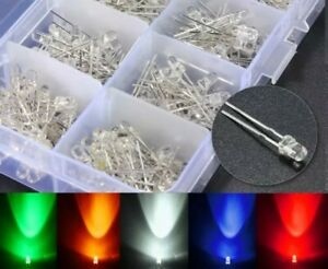 25x LED Leuchtdiode 3/5mm Licht weiß gelb rot grün blau transparent Hell DE