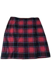 Talbots Skirt wool blend Plaid red black Womens size 4 Mini