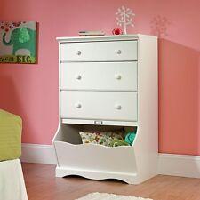 Kids Bedroom Furniture White Dresser Toy Box Girls Armoire Storage Wood Chest