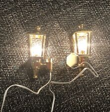 Lot of 2 -  Houseworks Wired Brass Coach Lamp #2614 Doll House 1/12 Scale