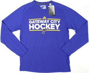 Adidas ST. LOUIS BLUES l/s Climalite mens raglan t-shirt- NEW-NHL hockey tee-$40