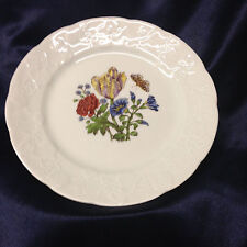 """LIERRE SAUVAGE CNP WILDFLOWERS OF FRANCE SALAD PLATE 8"""" EMBOSSED GRAPES RIM B"""