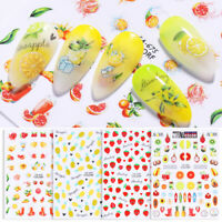 3D Nail Sticker Colorful Fruit Summer Pattern Transfer Nail Art Decal Decoration