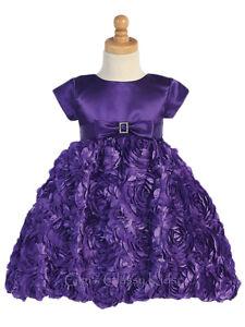 New Toddler Kids Flower Girls Satin Purple Dress Christmas Pageant Holidays 936