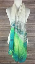 Vince Camuto Silk Rectangle Scarf Watercolor City Scape Green Blue 70x17 NWT