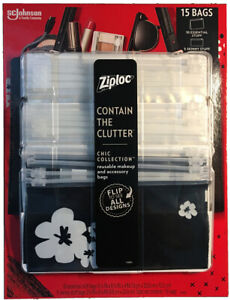Makeup And Accessory Bags, Contain The Clutter, 15 Count Reusable Ziploc New