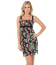 BUFFALO DAVID BITTON MS SIZE MEDIUM BLACK FLORAL PRINT FASHION SLIP DRESS