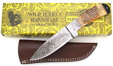 Wild Turkey Handmade Damascus Steel Collection Bone Handle Hunting Knife