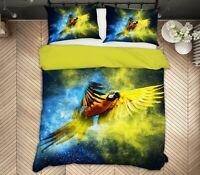 3D Yellow Parrot ZHUA1101 Bed Pillowcases Quilt Duvet Cover Set Queen King Zoe