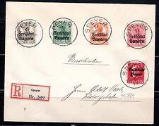1919 Germany/Bavaria Scott 139, 176, 178-80 on reg. cover Speyer to Ludwigshafen