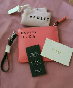 Radley Flex Pink Leather Clip On Zip Top Coin Purse BNWT RP £29 With Dust Bag