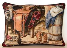 Western- Cowboy Gear, Saddle, Boots, Hat , Western Border Tapestry Pillow New