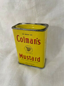 Vintage Colman's MUSTARD METAL SPICE TIN CAN OLD Bulls Head England Yellow Tin