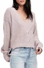 Free People $128 Coco V-neck Sweater Top Soft Purple Size Large L NWT NEW