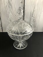 "Vintage Crystal Clear 9"" Round Compote Candy Dish with Lid Large Sawtooth Design"