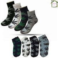 New 12 Pairs Dozen Mens Cotton Marijuana Weed Leaf Low Cut Ankle Socks Size 9-13