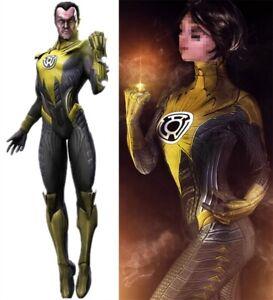 Yellow Lantern Jumpsuit Thaal Sinestro Cosplay Costume For Adult Kids Halloween
