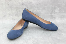 Tod's Gommini Studded Suede Ballet Flats Blue Size 38.5