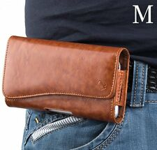 for LG Phones - BROWN Leather Pouch Holder Belt Clip Holster Carrying Case Cover