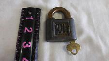 Old Vtg Antique YALE & TOWNE Padlock Lock With Push Key Stanford CT USA