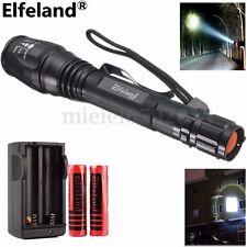 Elfeland 100000LM T6 3.7v Lampe de Poche TORCH 18650 Batterie Dual Chargeur
