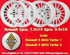 4 Cerchi Renault 5 MAXI TURBO mk1/mk2 7.5x15 & 9.5x16 WHITE wheels jantes