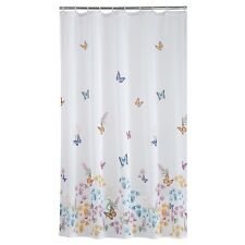Butterfly Garden Fabric Shower Curtain Blue Green Pink Yellow White Floral Bath