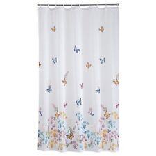 Butterfly Garden Fabric Shower Curtain White Blue Green Pink Yellow Bath