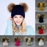 Women Girl Winter Beanie Cap with Chunky Knitted Double Fur Bobble Pom Pom Hat ^
