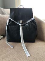 New Rebecca Minkoff Darren Womens Black Leather Backpack $325 Silver Hardware