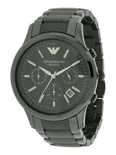 BRAND NEW EMPORIO ARMANI BLACK DIAL CERAMIC CHRONOGRAPH MEN WATCH AR1452