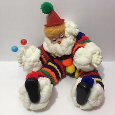 """VINTAGE 21"""" Clown Handmade Folk Craft Plush YARN Doll Rainbow"""