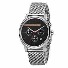 ESPRIT Mens Watch Watches Quartz Analogue Vision Black Silver Mesh RRP £149