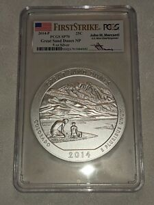 2014-P 5 Oz Great Sand Dunes National Park PCGS SP70 First Strike Mercanti