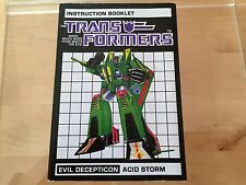 Transformers G1 CUSTOM ACID STORM seeker instructions book manual