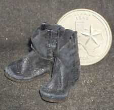 Dollhouse Miniature CUSTOM ROPER STYLE Western Cowboy Boots 1:12 Black Old 4971