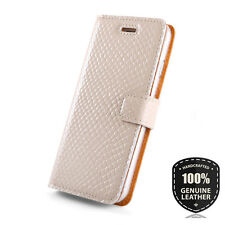 SURAZO® Premium Echtes Ledertasche Schutzhülle Wallet Flip Case TPU -Farbe Beige