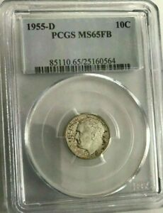 1955d PCGS MS65 fb Roosevelt Dime