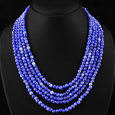 441.15 CTS EARTH MINED 5 LINE RICH BLUE SAPPHIRE ROUND BEADS NECKLACE - ON SALE