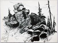 Paul Groß 1873-1942: Wald bei Bad Harzburg Neue Sachlichkeit 1931 Tusche Harz