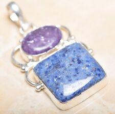 "Handmade Pyrite Lapis Lazuli Jasper 925 Sterling Silver 2.25"" Pendant #P14770"