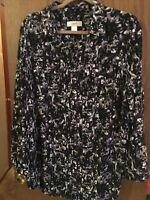 CJ Banks Women's Plus Size 1X 3/4 Sleeve Button Front Blouse Shirt Tunic
