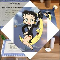"EXTREMELY RARE FINE ART ANIMATION BETTY ""BOOP MOON"" Med Sericel *Untouched MINTY"