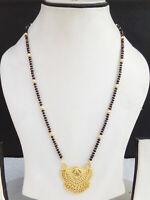"Indian Bollywood Fashion Ethnic Pendant Golden Jewelry Long Mangalsutra 22"" Long"
