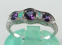 CLASS 9CT 9K GOLD AFRICAN AMETHYST & OPAL ETERNITY ART DECO INS RING  FREE SIZE