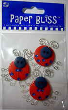 NEW 3 pc LADYBUGS  Ladybug  Adhesive Button Accents PAPER BLISS STICKERS -