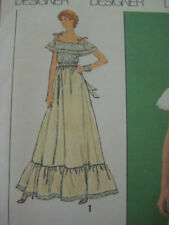 VTG Simplicity Gunne Sax Long Ruffled Dress Sewing Pattern Size 10  # 9015