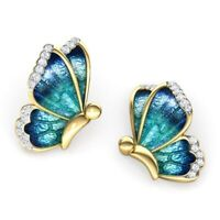 Cute 18K Gold Enamel White Sapphire Butterfly Stud Earrings Wedding Band Jewelry
